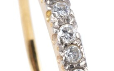 AN 18CT GOLD DIAMOND RING; set with 7 round brilliant cut diamonds totalling approx. 0.12ct, size S - T, wt.1.82g.