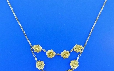 ANTIQUE 14k Yellow Gold Floral Etruscan Necklace Circa