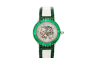 AUDEMARS PIGUET | REFERENCE 77142BC, A WHITE GOLD, DIAMOND AND EMERALD-SET SKELETONIZED WRISTWATCH, CIRCA 1994