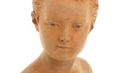 """According to Jean-Antoine HOUDON (1741-1828) - """"Bust of Louise Brongniart ', terracotta subject, H 45.5 cm (chip at the base of the base)"""