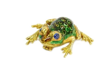 An 18ct gold enamel frog brooch, with two cabochon...