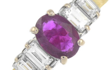 An 18ct gold ruby and baguette-cut diamond five stone ring.