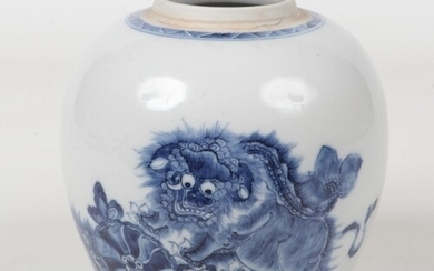 An 18th century Chinese blue and white ginger jar. Painted i...