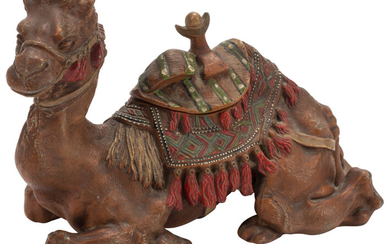 An Austrian Cold Painted Bronze Camel-Form Inkwell