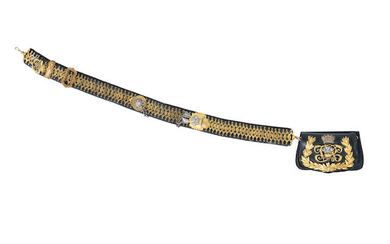 An Officer's Ormolu And Silver-Plated Black Leather Flap Pouch And Belt To The 10th Royal Hussars, Circa 1910-37