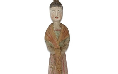 Ancient Chinese, Tang Dynasty Pottery Statuette of a servant - 245×80×0 mm - (1)