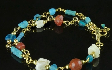 Ancient Roman Glass Bracelet with turquoise glass, carnelian and shell beads