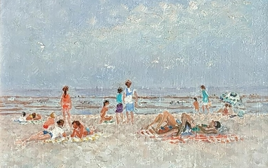 Andre Hambourg 1909-1999 (French) Beach scene oil on