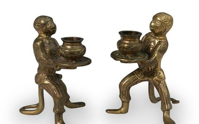 Antique Bronze Monkey Candlestick Holders