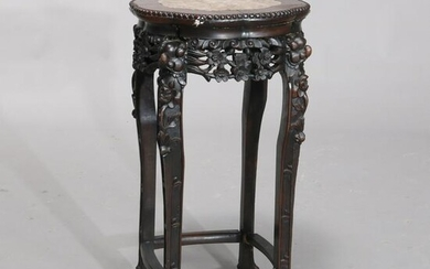 Antique Chinese Carved Rosewood Marble-Top Plant Stand