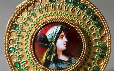 Antique French Compact With Enameled Copper Portrait