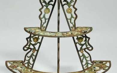 Antique Painted Cast Iron Plant Stand