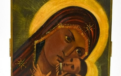 Antique Russian 19th C Icon Korsyn Mother of God