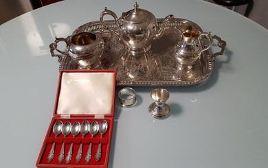 Antique Victorian 4-piece tea set, plated silver, by James Deakin & Sons, Sheffield + set of six silver tea or coffee spoons, Sheffield, 1973 + Vintage Silver egg cup & napkin ring set, Yeoman silver plating, England circa 1950