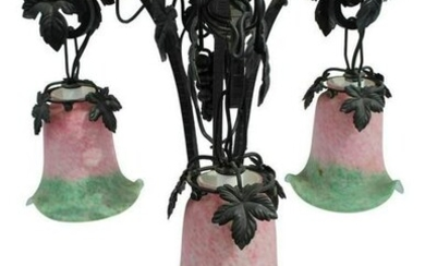 Art Deco Style Iron Forged Glass Shade Table Lamp