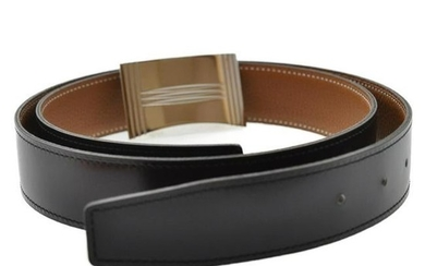 Authentic Hermes Leather Belt Black 90Cm