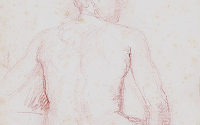 BACK SEATED BACK MASCULINE NUDE STUDY Brown pencil...
