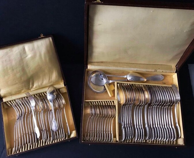 BOULENGER household silver plated metal with 12 large cutlery, 12 dessert spoons, 1 ladle, 1 stew spoon model garland leafed in 2 cases