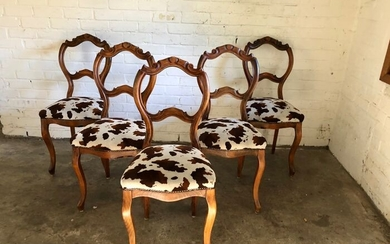 Beautiful balloon back dining chairs (5) - Walnut - 19th century