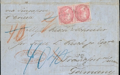 """British Post Office in Siam 1859 (28 May) entire letter to Frankfurt, Germany headlined """"Bangk..."""