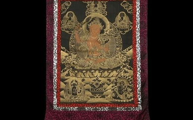 Buddhist Thangka. Tibet. Early 20th century. Mineral