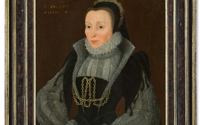 CIRCLE OF GEORGE GOWER (? C.1540-1596 LONDON), Portrait of a lady, half-length, in a dark dress with lace sleeves