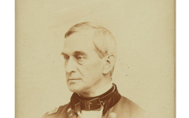 "(CIVIL WAR.) ANDERSON, ROBERT. Photograph Signed and Inscribed, ""Yours resp'y / Robert Anderson / Maj. Gen USA,"""