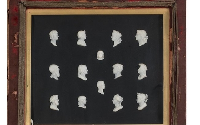 COLLECTION OF FOURTEEN BAS-RELIEFS IN WHITE PORCELAIN - 19TH CENTURY