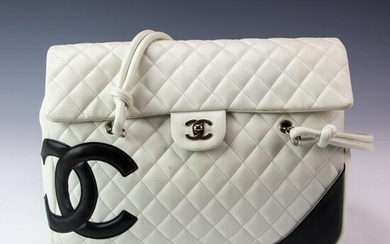 Chanel White Quilted Leather Cambon Flap Bag Purse