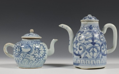 China, two blue-white porcelain teapots and lids, 19th...