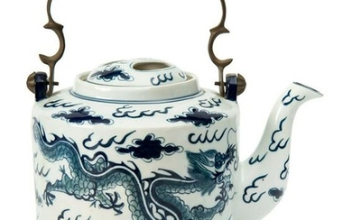Chinese Blue and White Porcelain Teapot.