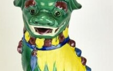 Chinese Hand Painted Porcelain Foo Dog Lamp
