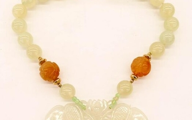Chinese Jade Moth Large Pendant Necklace 16''. Includes