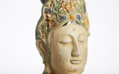 Chinese Tang style glazed pottery bust of Guanyin