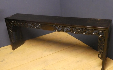 Chinese carved hardwood low side table 59h x 27.5w x 153l cm
