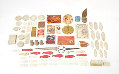 Chinese mother of pearl gaming counters and various sewing accessories