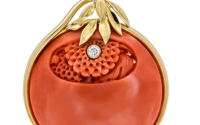 Coral diamond pendant GG 750/000 with a round,...