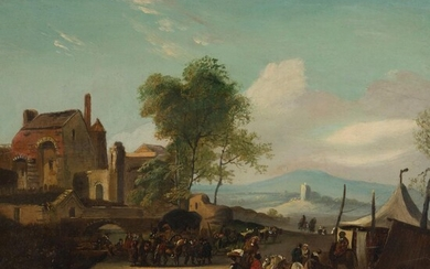 DUTCH SCHOOL (17TH CENTURY) VILLAGE LANDSCAPE WITH SOLDIERS
