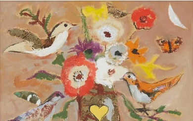 § David McClure R.S.A., R.S.W. (Scottish 1926-1998) BIRDS AND FLOWERS FOR ST. VALENTINE'S DAY, 1993
