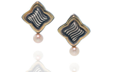 David Yurman: Pair of Sterling Silver, Gold and Pearl Ear Clips