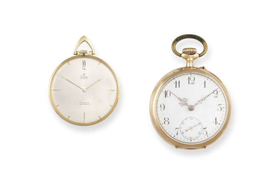 Description A FRENCH 14K GOLD OPEN FACE POCKET WATCH,...