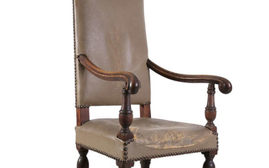 Description A SET OF EIGHT OAK FRAMED UPHOLSTERED CHAIRS,...