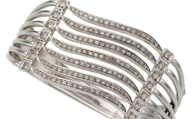 Diamond, White Gold Bracelet The hinged bangle features full...