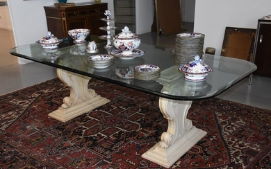 Dining room table glass and 2 painted wooden...