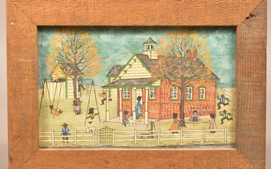 Dolores Hackenberger Painting of Amish Schoolhouse.