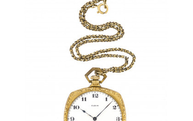 ELGIN Metal pocket watch with 9K chain Early 20th century...