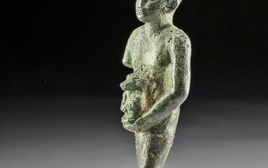 Egyptian Leaded Bronze Priest of Thoth w/ Baboon Effigy