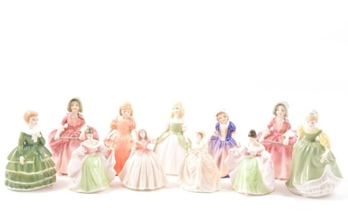 Eleven Royal Doulton and Coalport figurines.