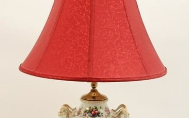 FRENCH FLORAL PTD PORCELAIN LAMP W/ RAMS HEAD HANDLES