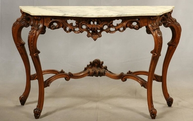FRENCH PROVINCIAL STYLE WALNUT CONSOLE TABLE
